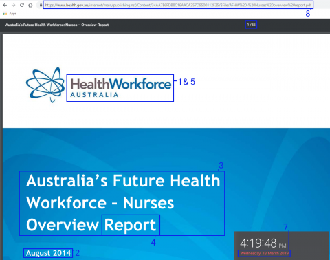 Screenshot of Healthforce Australia report online PDF with information highlighted
